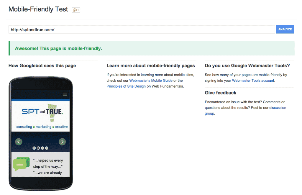 Mobile-friendly website test results
