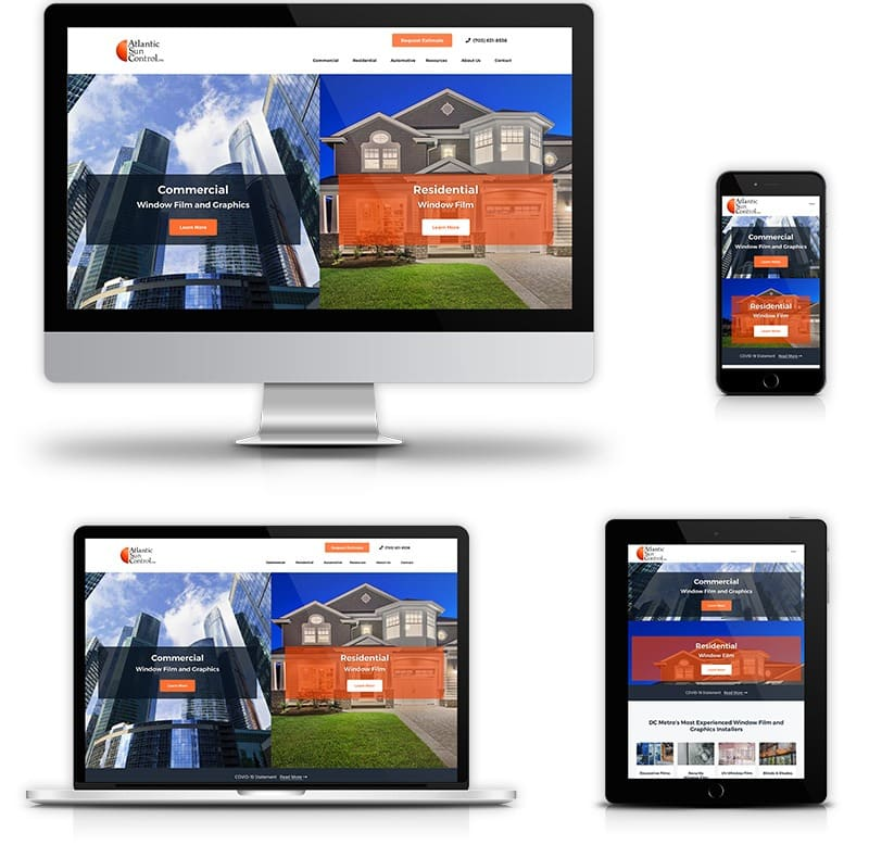 Award winning website design for Commercial & Residential Window Tinting and Graphics